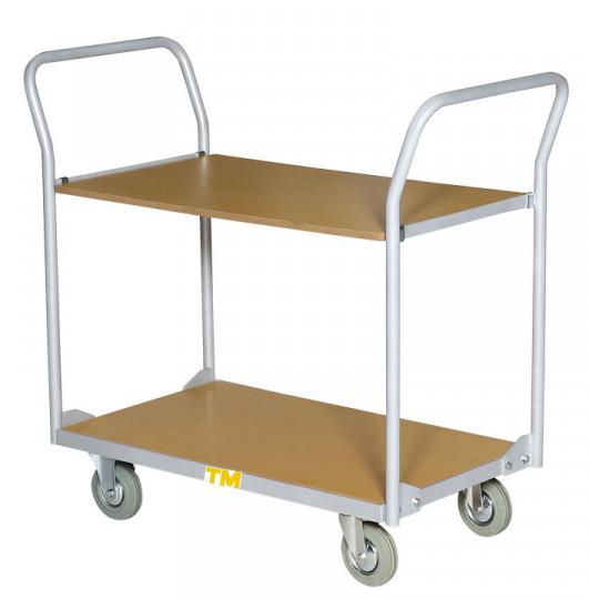 chariot de manutention 2 plateaux bois