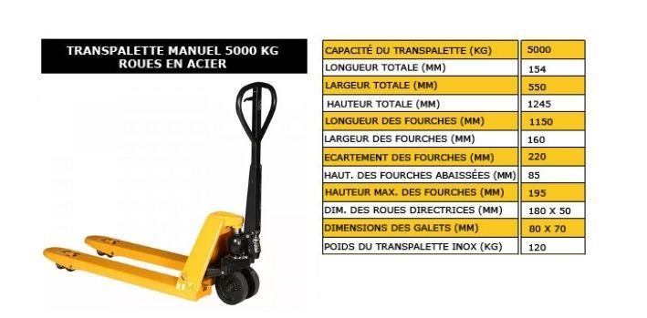 transpalette manuel 5000 kg